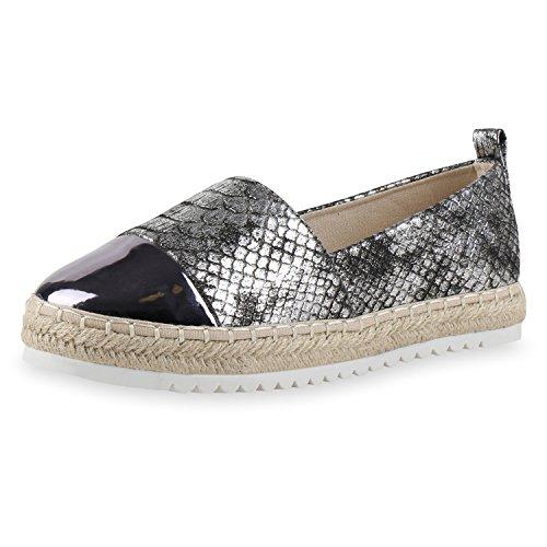 SCARPE VITA Damen Slipper Metallic Espadrilles Lack Flats Schuhe Bast 160394 Schwarz Metallic 39 (Schwarze Lack-espadrilles)