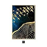 zgmtj Luna Abstracta Arte de la Pared Pintura en Lienzo Pájaros de la montaña de Oro Carteles e Impresiones nórdicos para la Sala de Estar Decoración para el hogar