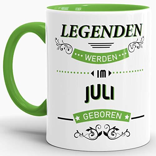 Tassendruck Geburtstags-Tasse Legenden Werden im Juli geboren Innen & Henkel Hellgrün - Kaffee-Tasse/Mug/Cup/Becher/Fun/Geschenk-Idee/Geburts-Jahr/Geschenk zum Geburtstag (4. Juli Ideen Für Die Party)