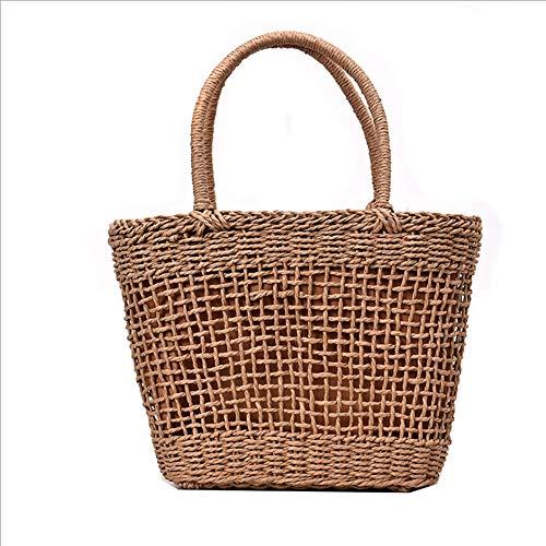 AHNNER Retro handgewebte One-Shoulder-Tasche Summer Beach Straw Hohlrundgriff Handtasche Bohemia Travel Crossbody Woven Wallet Warenkorb,A -