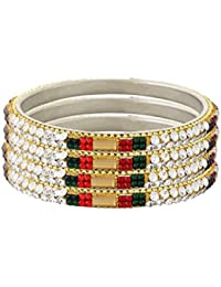 Faas Traditional Stone Bangle For Women And Girls Set Of 4