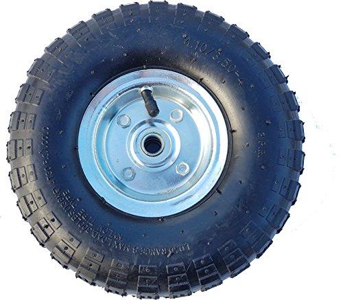 Frosal Luft Rad Bollerwagen Ø 260 mm 4.10/3.50-4 | Ersatzrad Reifen Sackkarre | Achse 16 mm | Luftrad Kugellager | Stahlfelge Silber - 3.5 Luft