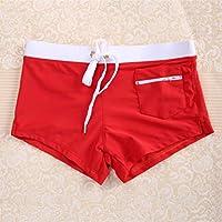 Oyamihin Fashion Front Slit Men Natación Shorts Slim Cut Swimwear Quick Drying Swimming Trunks Sexy Men Swim Briefs Hot Beach Shorts - Red XL