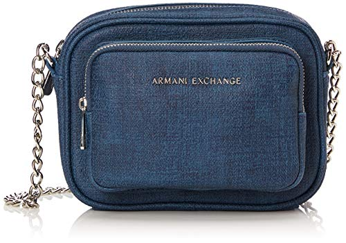 Armani Exchange Damen Cross-Body Bag Umhängetasche, Blau (Denim), 14.0x6.5x18.0 cm