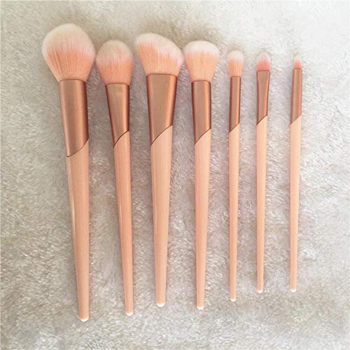 love+djl Make-Up Pinsel 7Pcs Rose Gold Griff Make-Up Pinsel Set Foundation Powder Blush Lidschatten Lippenpinsel Face Beauty Makeup Tools Kit Mit Case @ Rose_Gold -