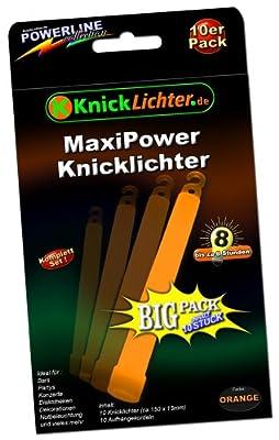 10 Knicklichter ORANGE! MAXI POWER! Extra dick! 150 x 15 mm! Jetzt im günstigen BIG Sparpack! Neueste Generation. Unter eigenem Label produziert. von KnickLichter.de - Lampenhans.de