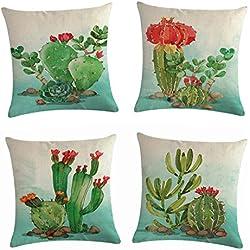 Morbuy Fundas De Cojines de Algodón Lino, Decoración Funda de Almohada Cactus Impreso 45 x 45 cm para Sofá Cama Coche Oficina Regalo Conjunto de 4 (Flor de Cactus Verde)