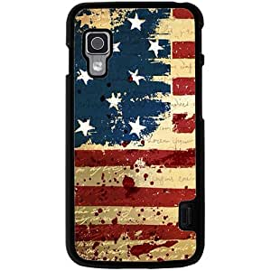 Casotec USA Flag Design 2D Hard Back Case Cover for LG Optimus L5 II E460 - Black