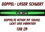 2x Doppel-Laserschwert Lichtschwert Sound Licht Vibration 138 cm grün