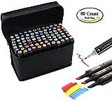 80 Verschiedene Farben Kunst Zeichnen Marker Pen, Dual Tip Twin Marker Textmarker mit, der Fall für Sketch Animation Malen Färben etwas Kritzeln Unterstreichung Schwarz