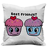 Factorywala Best Friend Print Soft Luxury Cushion Cover | Best Gift for Friend | Home Décor Cushion Cover (12 x 12)
