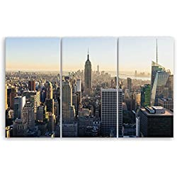 ge Bildet® hochwertiges Leinwandbild XXL - New York City Skyline - 165 x 100 cm mehrteilig (3 teilig) | Wanddeko Wandbild Wandbilder Bild auf Leinwand | 2283B L