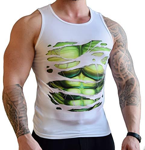 Khroom hochwertiges Herren Funktionsshirt Tank Top für Fitness, Sport & Gym - Kompressionsshirt im Helden Design (Hulk weiß, M)