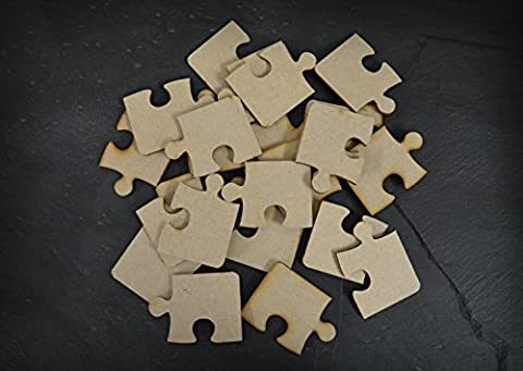 50mm Jigsaw Shapes MDF Wooden Blank Craft Embellishments Plaque Decoration - Pack of 50