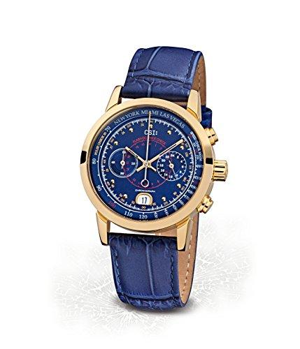 CSI : Kronsegler Damen Chronograph Edelstahl Vergoldet-Blau KS788go-bla