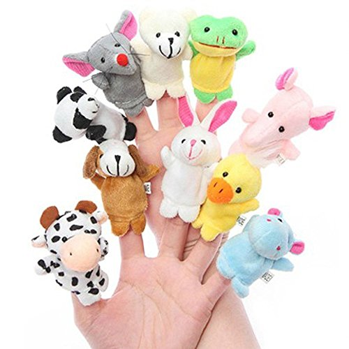 Everbuy ™ Puppet - 10Pcs Animal Finger Puppets Different Cartoon Animal Finger Puppets Soft Velvet Dolls Props Toys for Children, Shows, Playtime, and Schools - Novelty Educational Toys or Baby Story Time