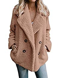 Clearence!!!Sonnena Women's Casual Coat Winter Plus Size Solid Button Pocket Turn-Down Collar Warm Parka Outwear Ladies Jacket Overcoat Outercoat Tops