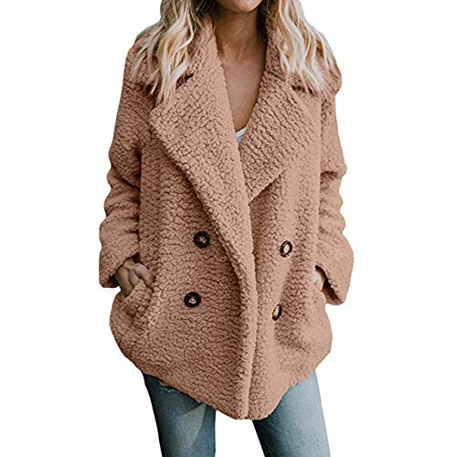 (AMUSTER Damen Teddy-Fleece Mantel Damen Mantel Jacke Plüsch Winter Stepp Warmen Oversize Boyfriend Outwear Cardigan Winter Warm Parka Outwear)