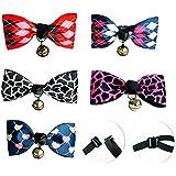 Liaoshanshan 5 Pcs Pet Dog Cat Adjustable Bow Tie Bowtie Designs Collar with Bells