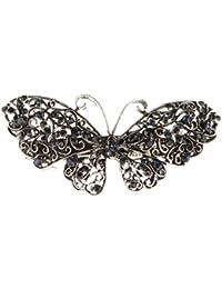 Große Vintage-Frauen Kristall Strass Schmetterling Haarspange Clip Haarnadel