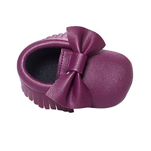 BOBORA Chaussures Bebe Filles Garcons Soft Soled Tassel Bowknots Chaussures Berceau PU Mocassins #P