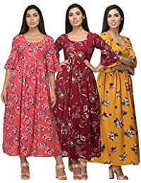 Raghumaya Ladies Printed Poly Crepe Maxi Casual Dress with Inner Lining - (3 Pcs Combo)