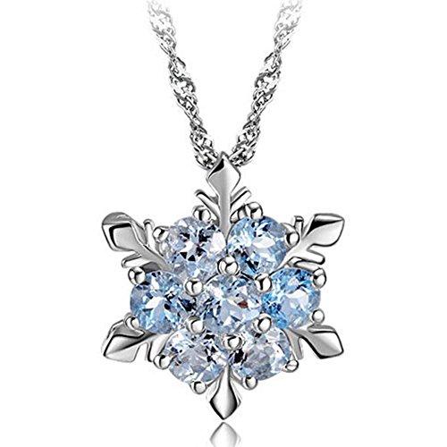 Lumanuby Damen Mode Schneeflocke Form Anhänger Blau Kristall Modeschmuck Geschenk Für Mutter Freundin Liebhaber, Keine Halskette Enthalten