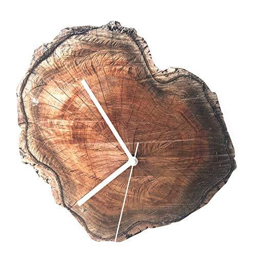 (ZYLBDNB Einfache Kreativuhr, Retro Wood Grain Wanduhr Große Acrylmarke Runde Digitale Hängeuhren einzigartiges Geschenk)