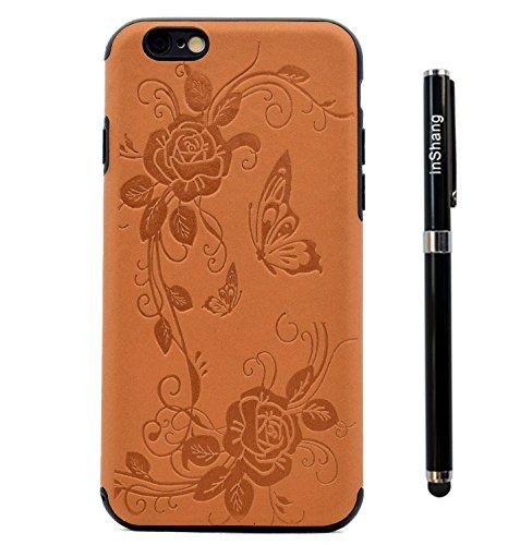 """inShang Hülle für iPhone 7 4.7"""" ,Ultra Schlank und leicht TPU Bequem Schutzhülle Rückcover (Back Case) design für Handy iPhone7 4.7 inch, + inShang Logo hochwertigen Stylus Eingabestift Stift Brown butterfly flower"""