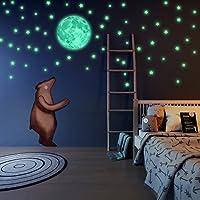 Brilla en la oscuridad estrellas y luna pared pegatinas, hermosa pared adhesivos para dormitorio. Luna Llena y 220adhesivo para habitación de estrellas brillantes, iluminación de techo, Bono AFIRMACIÓN tarjeta para niños por liderstar
