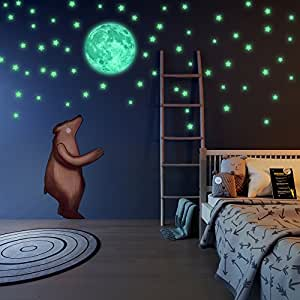 moon light for bedroom glow in the and moon wall stickers beautiful 16471