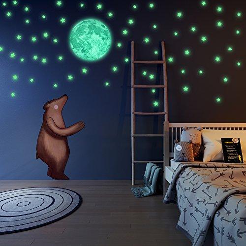 chten im Dunkeln, schöne Wanddekoration für Schlafzimmer. Liderstar - Vollmond & 220selbstklebende, leuchtende Sterne für Zimmerdecken, plus Bestätigungskarte für Kinder (Glow In The Dark-dekorationen Für Raum)