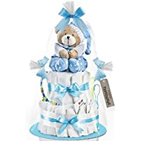Timfanie® Windeltorte | Spieluhr (2-stöckig / baby-blau) vario