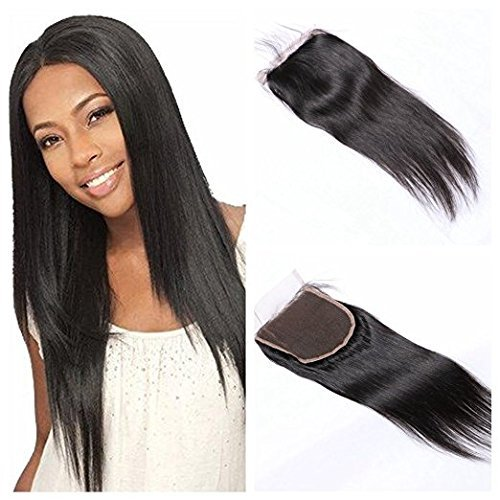 BLISSHAIR Cheveux Humains lace frontal Indiens Vierges 7A Perruque Tissage bresilien ondule Straight vierge 4*4inch Lace Closure Middle Part 10\\