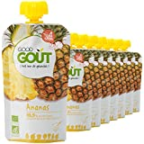 Good Goût - BIO - Purée de Fruits à l'Ananas dès 4 Mois - 8 gourdes de 120g