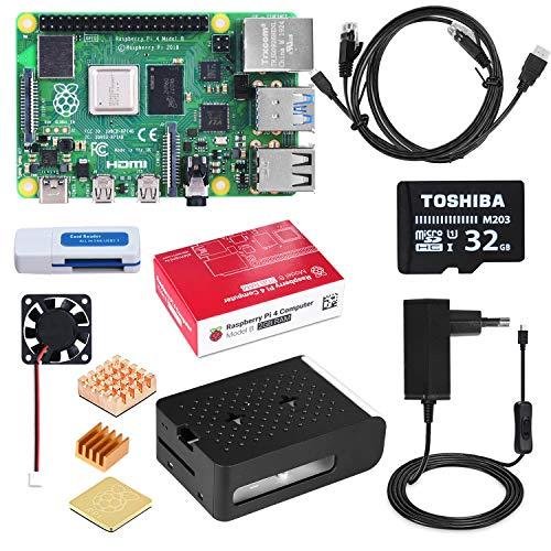 DINOKA Raspberry Pi 4 Model B 2 GB Ultimatives Kit mit 32GB Class10 Micro SD-Karte, 5V 3,0A USB-C EIN/Aus-Schaltnetzteil, 3 Premium Kupfer Kühlkörper, Micro HDMI-Kabel, Premium Schwarzes Gehäuse