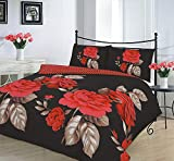 Comfy Nights ISABELLA Design Luxury Polycotton Duvet Cover Set (Black, Double)