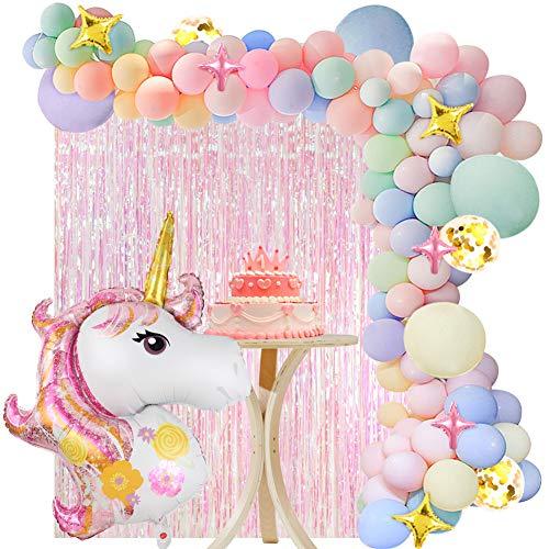 VAMEI 136 Piezas Unicornio Decoraciones Cumpleaños de Fiesta para Niños, Globos de Unicornio Cumpleaños,Cortina de Fiesta, Globo Pentagrama Suministros de Cumpleaños Individuación para Niños Niñas