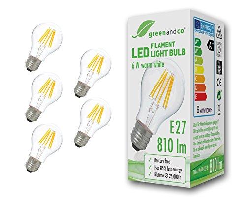 5 lampadine a filamento LED greenandco® E27 6W (equivalente a 60W) 810lm 2700K (bianco caldo) 360° 230V AC Vetro, non dimmerabile