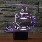 QingMuMu 7 Changement de Couleur Tasse de café en Grains modèle 3D lumière de Nuit LED USB Lampe de Table pour Le Bureau à Domicile café Boutique décor ami Cadeau de noël...