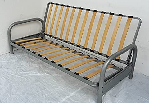 3 seater futon FRAME ONLY. Futon frame Silver click clack easy action metal sofabed bed settee FRAME