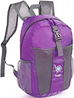 Bago Lightweight Backpack. Waterproof Collapsible Rucksack for Travel and Sports. Foldable and Packable Daypack for Adults, Teens and Children. 25l Purple