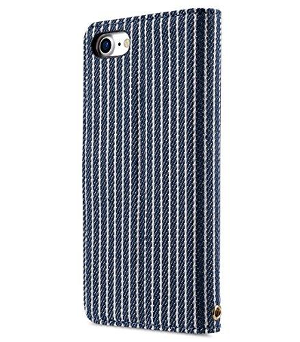 Apple Iphone 7 Melkco Elite-Serie Premium Leder-Snap zurück Tasche Tasche mit Premium-Leder Handgefertigte gute Schutz, Premium Feel-Tan Blauer Streifen / rot