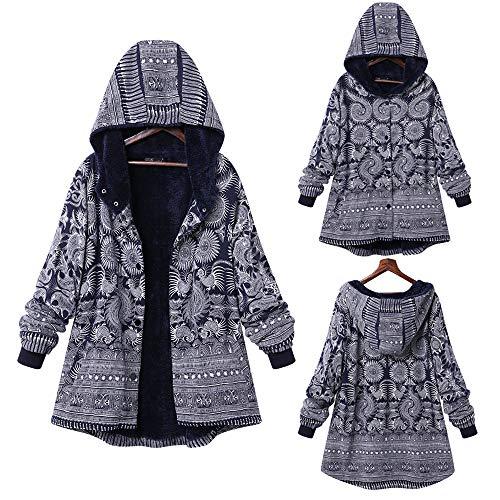 Hanomes Damen Mantel,Damen Oversize Mode Drucken Reißverschluss mit Kapuze Mantel Vintage Damen Fleece Dicke Mäntel Cozy KaschmirPullover Print-vintage-mantel