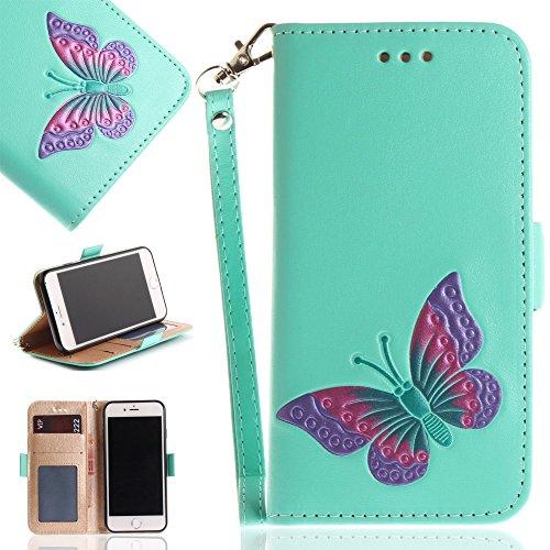 Tasche Hüllen Schutzhülle - case cover echtes Leder en PU Von Hand bemalt Impressum Schmetterling cyan für Apple iPhone 7,iPhone 8 (Bemalt Von Apple Hand)