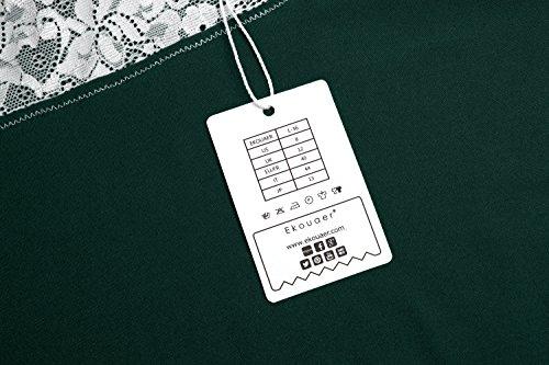 Ekouaer Damen Negligee Nachthemd Sexy Nachtkleid V-Ausschnit Nachtwäsche Spitze Dekor Sleepwear Träger kleid mit Spitzenbesatz A-Grün