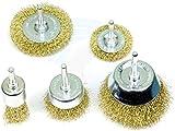 #1: Khadija Wire Brass Brush Multipurpose Set to Remove Paint, Dust, Dirt, Medium (Golden) - Set of 5