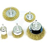 Khadija Brass Coated Wire Brush Wheel & Cup Brush Set with 1/4-Inch Shank, 5 Sizes Coated Wire Drill Brush Set Perfect For Removal of Rust/Corrosion/Paint (Golden) - Set of 5