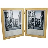 """Double Natural Wood Design 6"""" x 8"""" Photo Frame Gift New Boxed"""