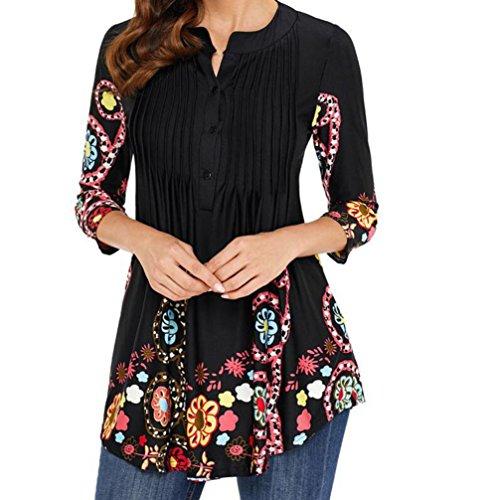 dhals-Langarmhemd Mit Rundhalsausschnitt FüR Damen Frauen Drei Viertel Sleeved Gedruckt Tops Lose T Shirt Bluse (XL, Schwarz) (Zitate über Halloween Und Familie)